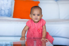 Portrait of little African American little girl smiling - Black Royalty Free Stock Image