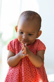 Portrait of little African American little girl smiling - Black Royalty Free Stock Photo