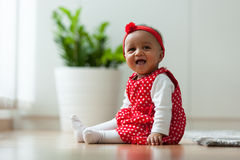 Portrait of little African American little girl smiling - Black Stock Photo