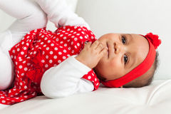 Portrait of little African American little girl smiling - Black Stock Photo