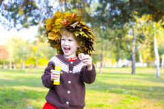 Portrait of little amusing girl outdoors Royalty Free Stock Images