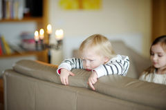 Portrait of little angry toddler girl Stock Photography