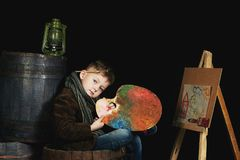 Portrait of a little artist . royalty free stock image
