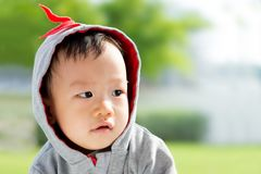 Portrait of little Asian baby boy. At outdoor park Stock Photo