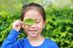 Portrait of little Asian child girl holding a green leaf closing right eye in green garden background.  stock photos