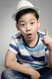 Portrait of little asian cute boy with whit hat Royalty Free Stock Photos