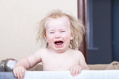 Portrait  little baby crying tears emotionally Royalty Free Stock Images