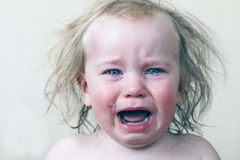Portrait  little baby crying tears emotionally. Portrait of a little baby crying tears emotionally Royalty Free Stock Photos