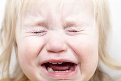 Portrait  little baby crying tears emotionally Royalty Free Stock Photography