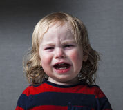 Portrait  little baby crying tears emotionally Royalty Free Stock Photo