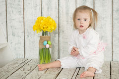 Portrait of a little baby girl with Down syndrome Stock Images
