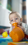 Portrait of a little baby girl. Who eats, teething and hungry, chewing and playing toy Royalty Free Stock Photo