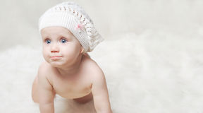 Portrait of a little baby with a hat Royalty Free Stock Photos