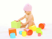 Portrait of little baby playing Royalty Free Stock Photos