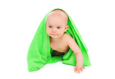 Portrait of little baby under towel crawls on white Royalty Free Stock Photos