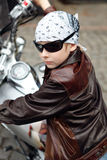 Portrait a little biker Royalty Free Stock Images