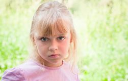 Portrait of a little blond beautiful Russian girl Royalty Free Stock Images