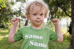 Portrait of a little blond curly boy Stock Photo