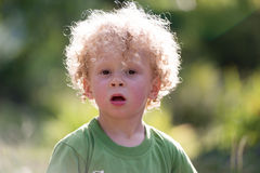 Portrait of a little blond curly boy Royalty Free Stock Images
