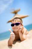 Portrait of little boy on the beach Royalty Free Stock Photo