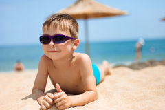 Portrait of little boy on the beach Royalty Free Stock Photography