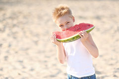 Portrait of a little boy on the beach Royalty Free Stock Images