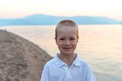 Portrait of a little boy on the beach Stock Photos