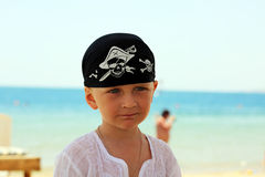 Portrait of a little boy on the beach Stock Image
