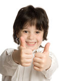 The portrait of little boy with big finger. The close-up portrait of little boy with big finger Stock Images