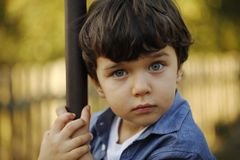 Portrait of a little boy with blue eyes and cute face Royalty Free Stock Photos