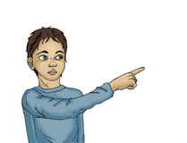 Portrait of a little boy.Boy surprised. Child points his finger. Stock Photo