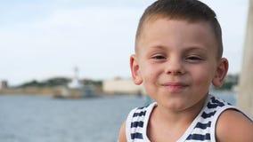 Portrait of little boy stock video footage