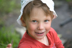 Portrait of a little boy close-up in nature. Royalty Free Stock Image