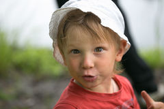 Portrait of a little boy close-up in nature. Royalty Free Stock Photos