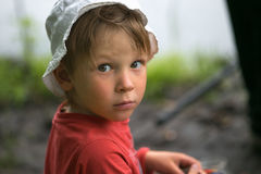 Portrait of a little boy close-up in nature. Stock Photography