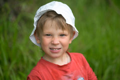 Portrait of a little boy close-up in nature. Stock Image