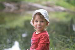 Portrait of a little boy close-up in nature. Royalty Free Stock Photography