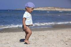 Portrait of a little boy at coast Stock Images