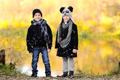Portrait of little boy and girl Stock Photos