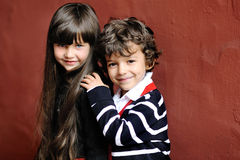 Portrait of little boy and girl Stock Images