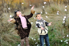 Portrait of little boy and girl Royalty Free Stock Photography