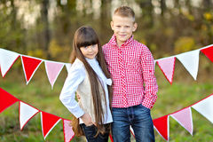 Portrait of little boy and girl Stock Photo