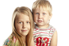 Portrait of little boy and girl Royalty Free Stock Image
