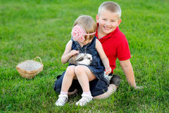 Portrait of little boy and girl Royalty Free Stock Images