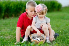 Portrait of little boy and girl Royalty Free Stock Photo