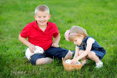 Portrait of little boy and girl Stock Image