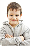 Portrait of a little boy with grey hoodie sweatshirts Royalty Free Stock Photo
