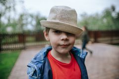 Portrait of a little boy in a hat stock images