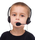 Portrait of little boy with headphones Royalty Free Stock Images
