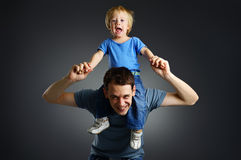 The portrait of a little boy and his father Royalty Free Stock Photos
